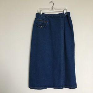 Dresses & Skirts - Denim wrap style midi maxi jean skirt plus size 16